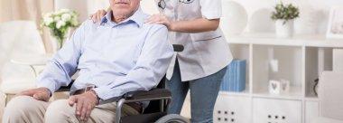 Retiree sitting in a wheelchair