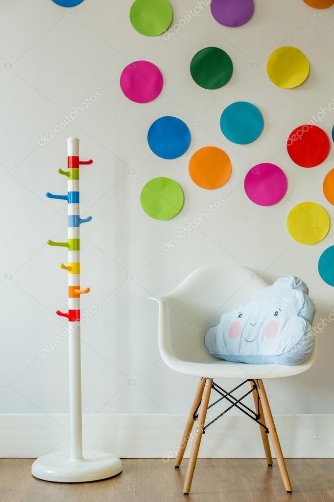 Chair With Cloud Shaped Pillow U2014 Stock Photo