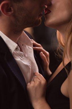 Beautiful couple kissing passionately