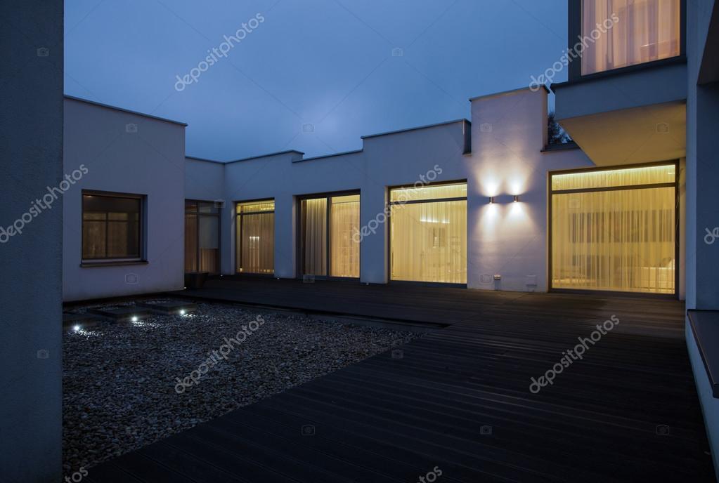 Single family house at night