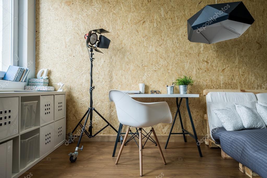 Holzwand In Modernes Schlafzimmer U2014 Stockfoto
