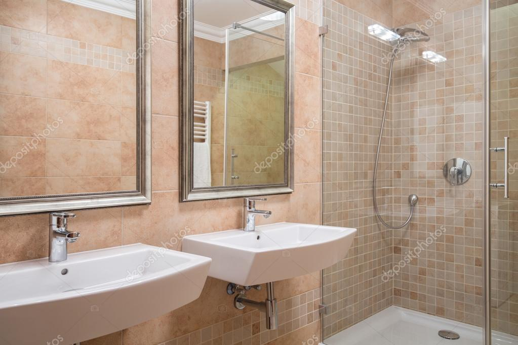 Exclusive bathroom with shower stock photo - Bagno moderno piccolo ...