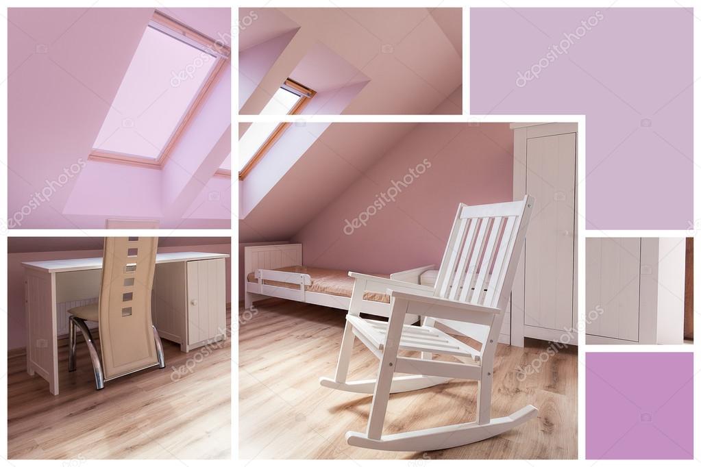 Intérieur de la chambre rose et blanc — Photographie ...