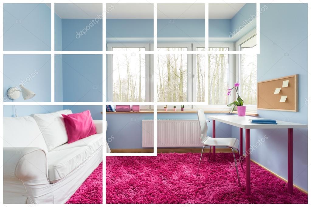 wit roze en blauw slaapkamer stockfoto