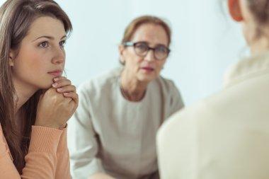 Spiritual guide talking with women