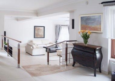 Hall and living room