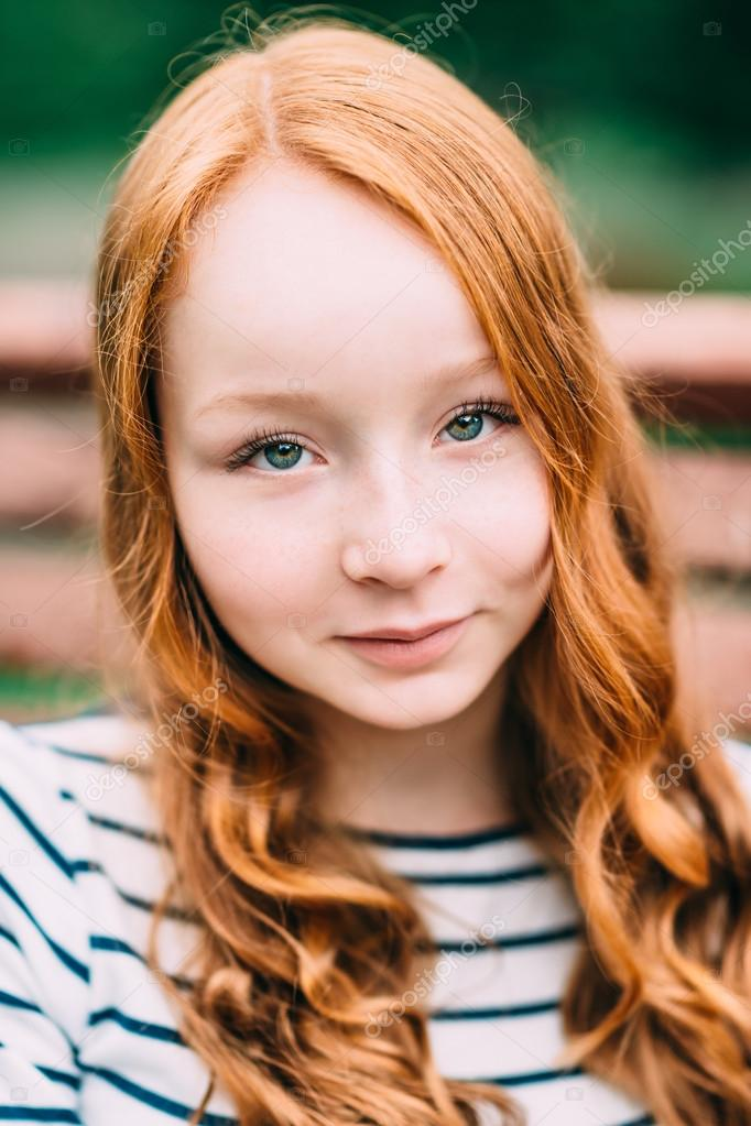 Young girl with red hair opinion, false