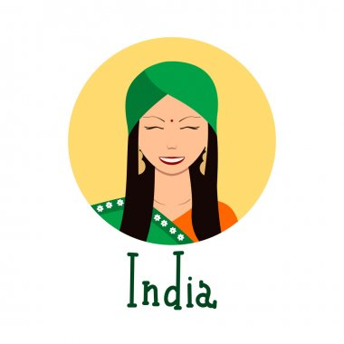 Young woman face avatar. Cute indian girl in traditional clothing portrait for social networks. Vector illustration with handdrawn lettering. Ethnical theme.