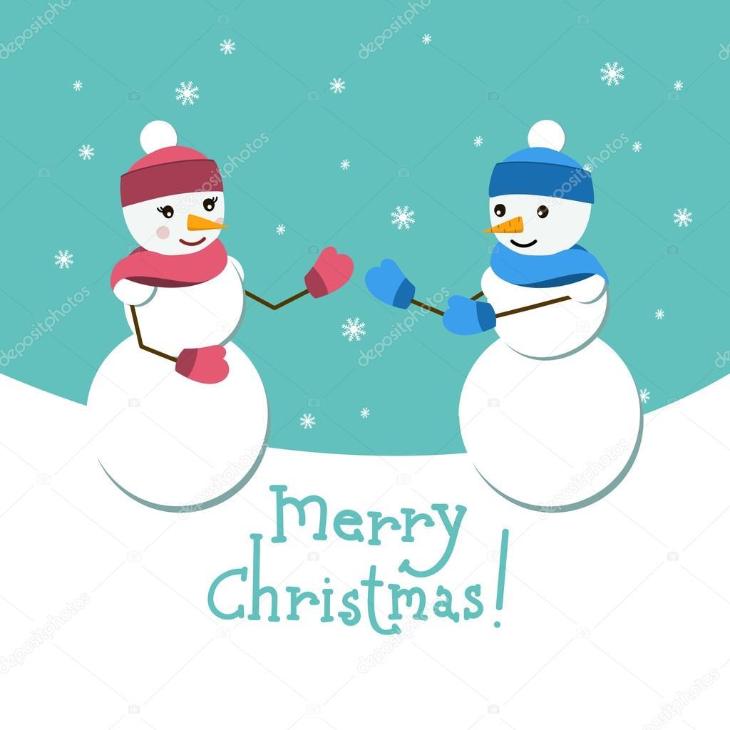 Frohe Weihnachten Freundin.Schneemann Und Seiner Freundin Vektor Karte Mit Schriftzug Frohe