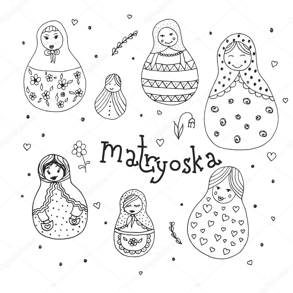 russian traditional wooden toys babushka matryoshka simple ussr russian traditional wooden toys babushka matryoshka simple ussr elements hand drawn vector illustration national culture concept
