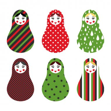 Set of russian traditional wooden toys, babushka, matryoshka, simple USSR elements. Vector illustration. Geometric ornaments are under clipping masks. Retro doll design background. Kids theme.