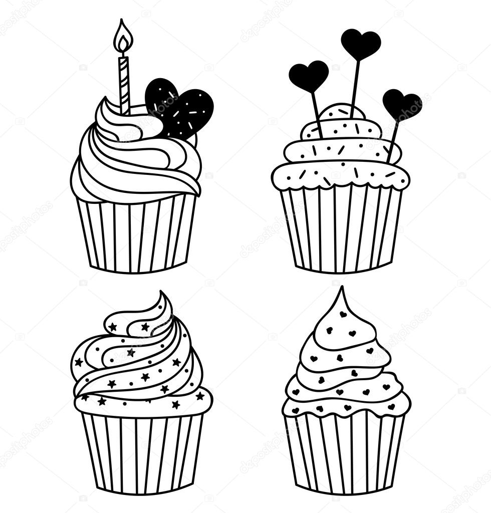 Vector monochrome background. Hand drawn cakes templates. Template ...