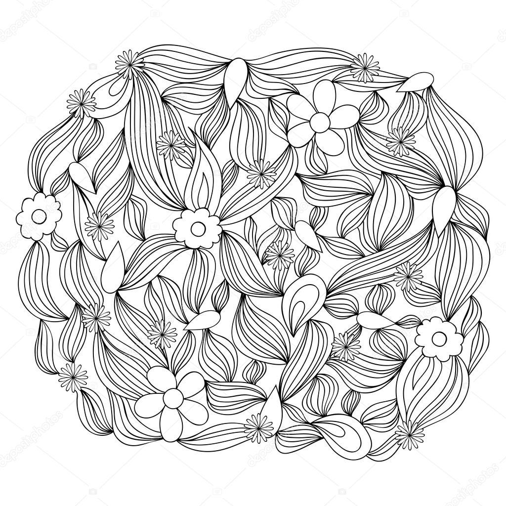 Fondo monocromo de vector. Ornamento redondo dibujado a mano ...