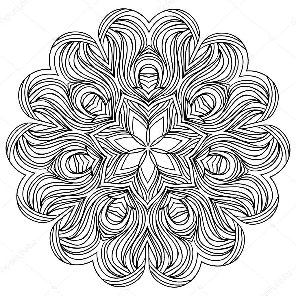 vector monochrome background hand drawn round ornament template