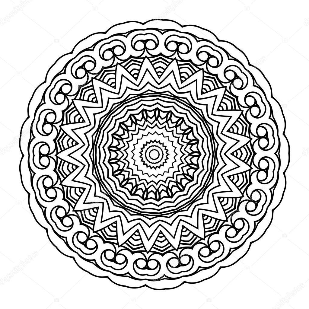 Vector monochrome background. Hand drawn round ornament. Template ...