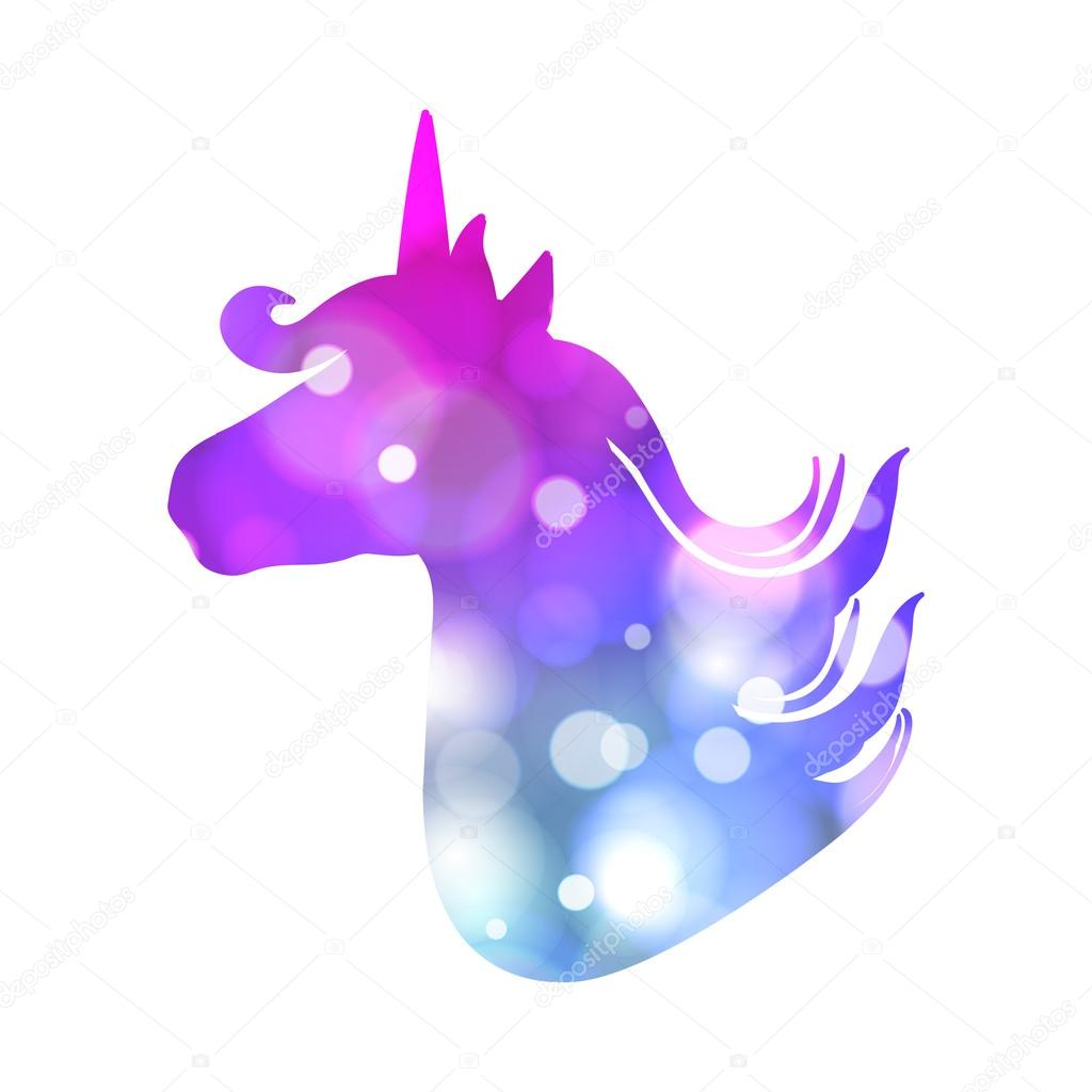 Colorful patch with unicorn silhouette, bright colors. Background ...