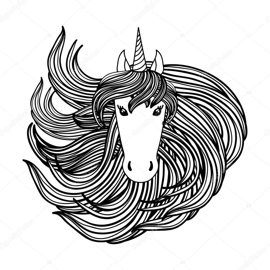 Adulto Para Colorear Página Del Libro Con Unicornio Melena De
