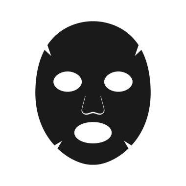 Face mask sheet black, skin care icon. Beauty illustration on white background. Editable vector illustration. icon