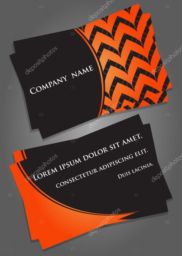 Business card template in black and orange. — Stock Vector ...