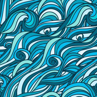 Seamless hand-drawn waves pattern.