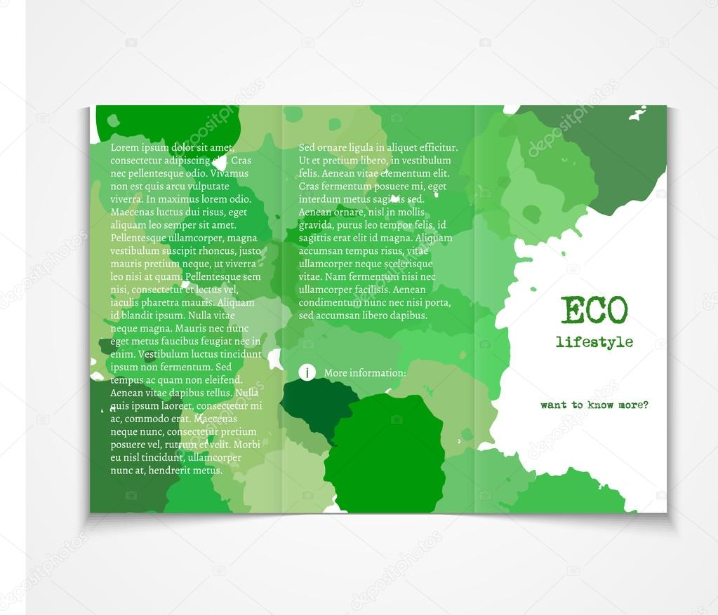 Watercolor styled painted background design ecology event – Event Brochure Template