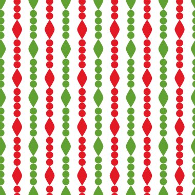 Simple retro geometric Christmas pattern. Traditional colors. Background can be copied without any seams.Vector garlandendless texture can be used for printing onto fabric and paper or scrap booking. stock vector