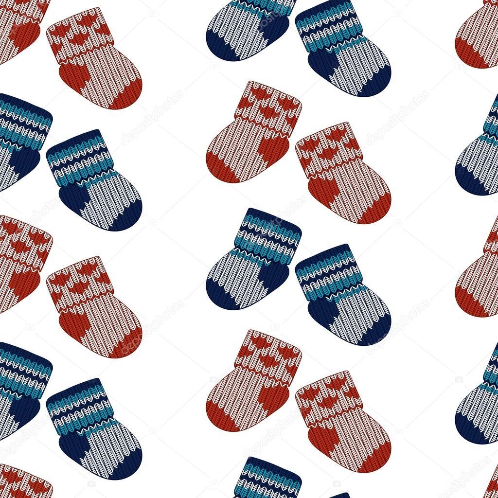 vector little knitting socks seamless pattern children theme