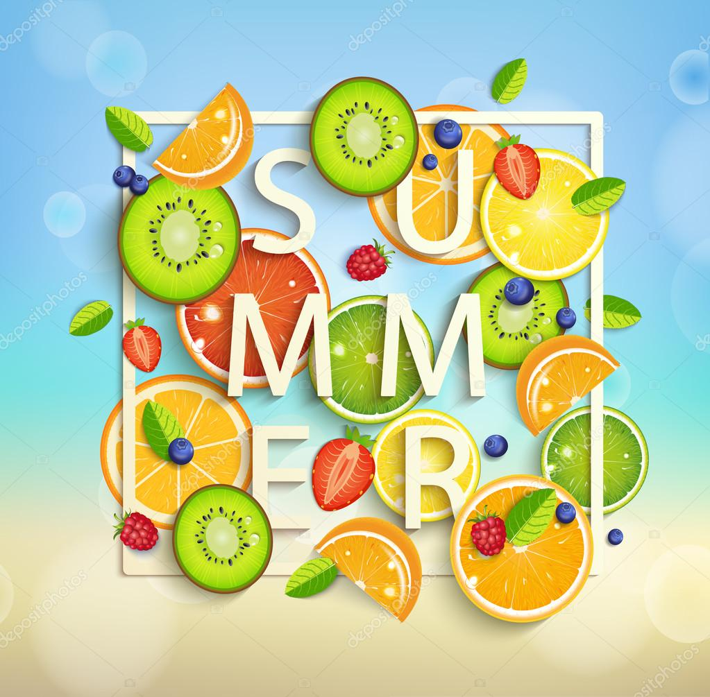 Summer background with fruits
