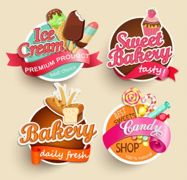 Food Label or Sticker - bakery, ice cream, candy, sweet bakery - Design Template. Vector illustration stock vector