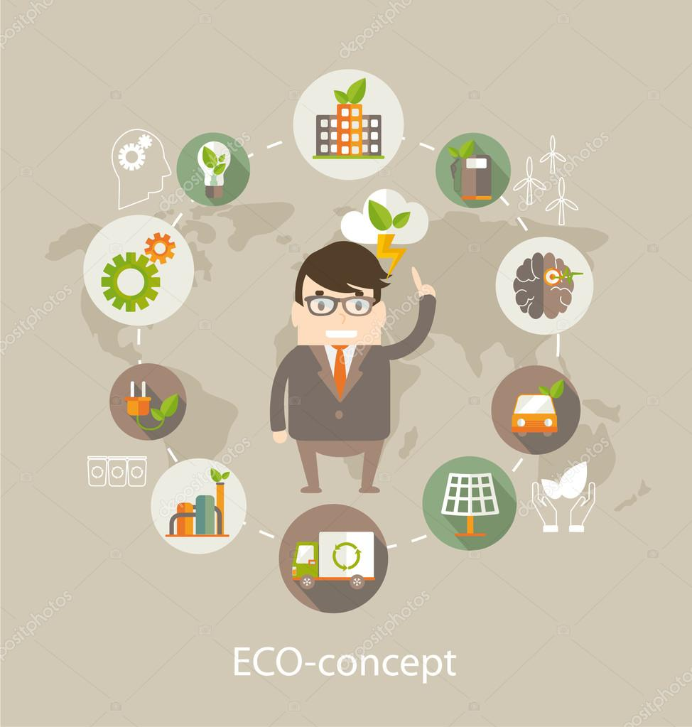 Eco concept with ideas  illustration
