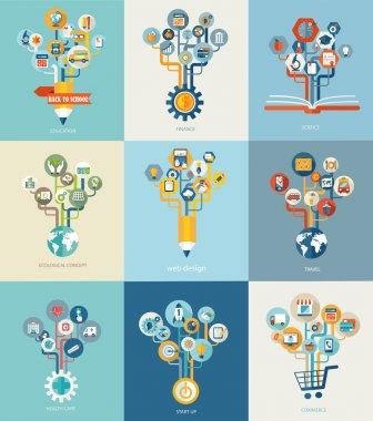 Abstract trees with icons for web design