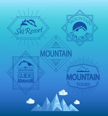 Mountain logos and emblems in outline style