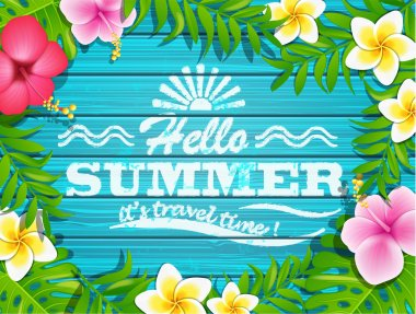 Hello summer  background with tropical flowers