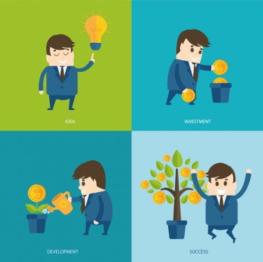 Businessmen growth money tree