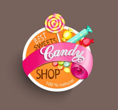 Paper candy shop label stock vector