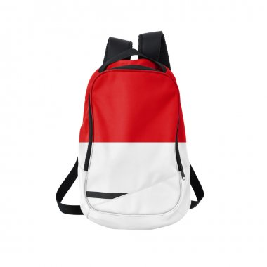 Monaco flag backpack isolated on white