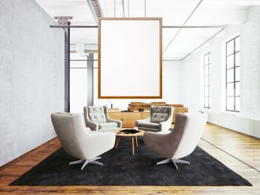 Photo of meeting room interior in modern loft building. Empty white canvas hanging on the wood frame. Wood floor, table, furniture,concrete wall,big windows. Horizontal, blank mockup. 3d rendering