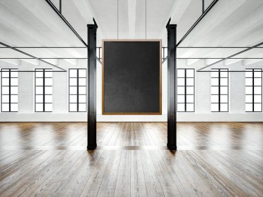 Photo of empty museum interior in modern building.Open space loft.Empty black canvas hanging on the wood frame.Wood floor,table,furniture,concrete wall,big windows.Horizontal,blank mockup.3d rendering