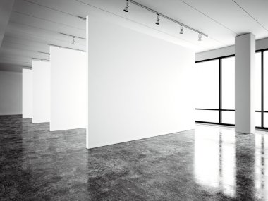 Photo exposition modern gallery,open space. Blank white empty canvas contemporary industrial place.Simply interior loft style with concrete floor,panoramic windows. Black,white. 3d Render