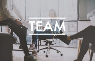 Teamwork photo, brainstorming. Businessman crew working with new startup project in modern loft. Woman architect holding smartphone hands. Horizontal, film effect