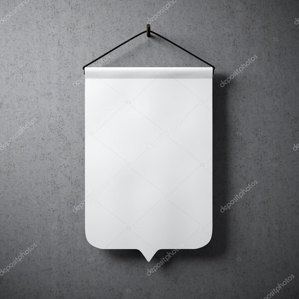 Empty white pennant hanging concrete wall. Ready for your business information. High detailed texture material. Soft shadows. Abstract background. Square.3D rendering.