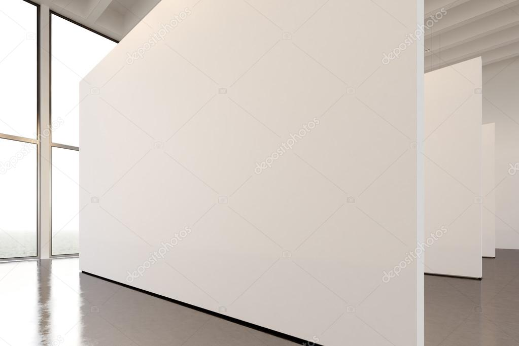 contemporary art furniture. Big White Empty Canvas Hanging Contemporary Art Museum.Interior Loft Style  With Concrete Floor, Spotlight,generic Design Furniture And Building \u2014 Photo By