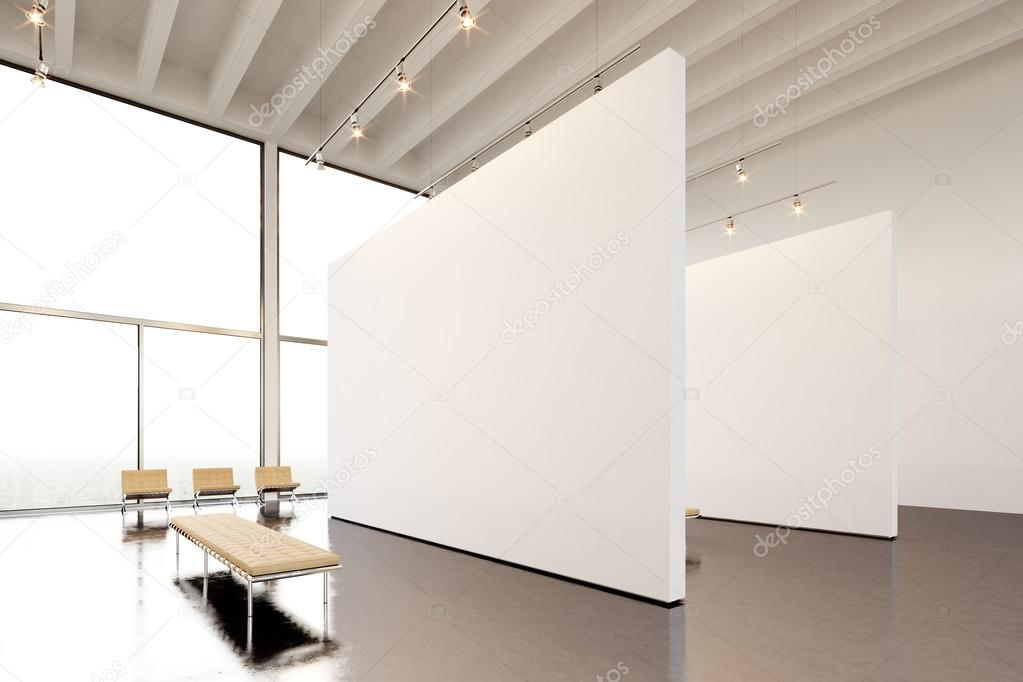 Picture exposition modern gallery,open space.Huge white empty canvas ...