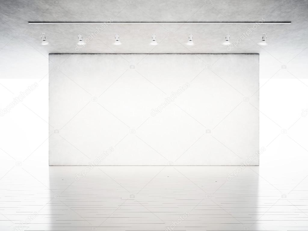 Photo Exhibition Modern Gallery Blank Concrete Wall In