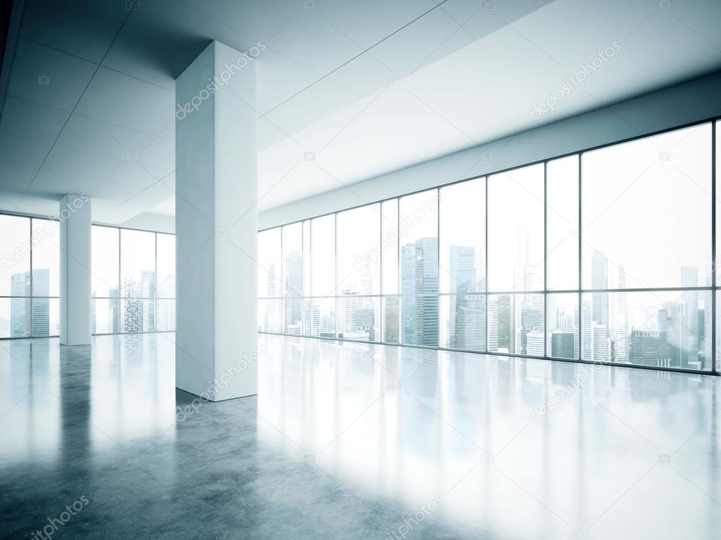 photo of open space office in modern building empty interior loft style with concrete floor