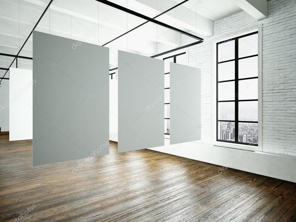 Interior de Museo expo en edificio moderno. Estudio de espacio ...