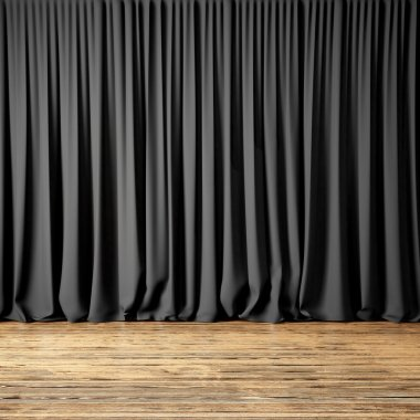 Concept picture highly detailed black Curtains. Photo of backstage with dark textile curtains and wood floor. Abstract interior background. Square mockup. 3d rendering
