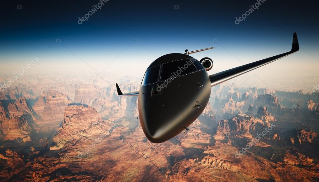 918e132d7d Closeup Black Matte Luxury Generic Design Private Jet Flying in Sky under  the Earth Surface. Grand Canyon Background. Business Travel Picture.