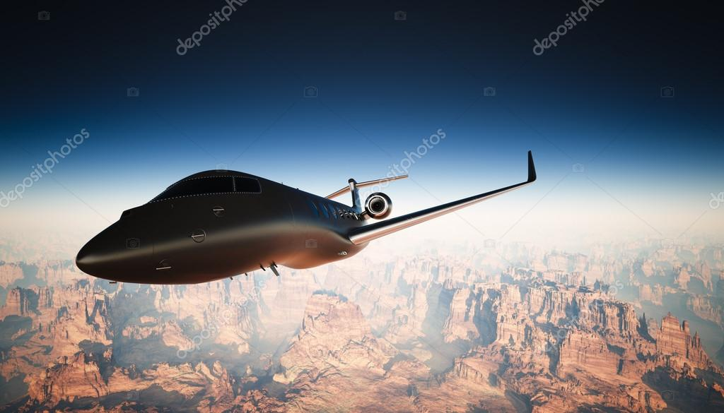 5ec5bc37ef Photo Cabin Black Matte Luxury Generic Design Private Jet Flying in Sky  under Earth Surface.