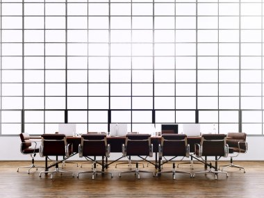 Photo modern meeting room with panoramic windows.Generics computers and generic design furniture in contemporary conference hall.Open spae for sign business contracts.Horizontal. 3D rendering